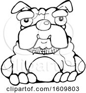 Clipart Of A Black And White Sitting Bulldog Royalty Free Vector Illustration