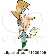 Clipart Of A Cartoon White Woman Calling Customer Service To Complain About A Bill Royalty Free Vector Illustration