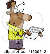 Clipart Of A Cartoon Black Man Holding Walking Papers Royalty Free Vector Illustration