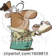 Cartoon Black Man Eating A Sandwich