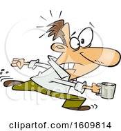 Poster, Art Print Of Cartoon White Business Man Rushing For A Coffee Refill