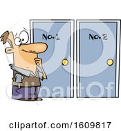 Clipart Of A Cartoon White Man Choosing Between Doors Royalty Free Vector Illustration