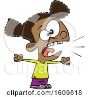 Clipart Of A Cartoon Black Girl Yelling Royalty Free Vector Illustration