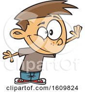 Clipart Of A Cartoon White Boy Holding Up A Hand For A High Five Royalty Free Vector Illustration