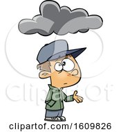 Clipart Of A Cartoon White Boy Feeling Under The Weather With A Cloud Royalty Free Vector Illustration by toonaday