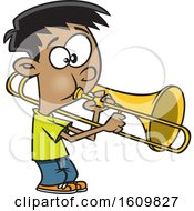Clipart Of A Cartoon Boy Playing A Trombone Royalty Free Vector Illustration