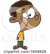 Clipart Of A Cartoon Black Boy Smiling Royalty Free Vector Illustration