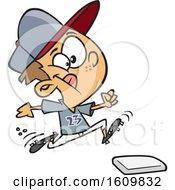 Poster, Art Print Of Cartoon White Boy Running To A Baseball Base