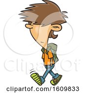 Poster, Art Print Of Cartoon White Boy With Messy Hair Walking To School