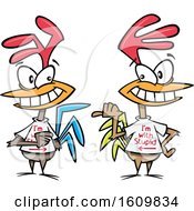 Clipart Of Cartoon Chickens Wearing Im With Stupid Shirts Royalty Free Vector Illustration