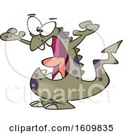 Poster, Art Print Of Cartoon Scary Monster Holding Up His Arms