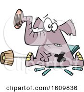 Clipart Of A Cartoon Elephant In The Room Breaking Furniture Royalty Free Vector Illustration