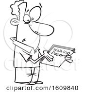 Cartoon Lineart Man Holding Walking Papers
