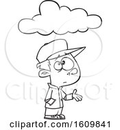 Clipart Of A Cartoon Black And White Boy Feeling Under The Weather With A Cloud Royalty Free Vector Illustration