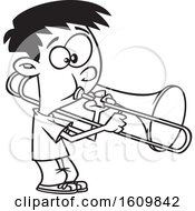 Clipart Of A Cartoon Black And White Boy Playing A Trombone Royalty Free Vector Illustration