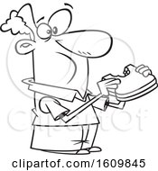 Clipart Of A Cartoon Black And White Man Eating A Sandwich Royalty Free Vector Illustration