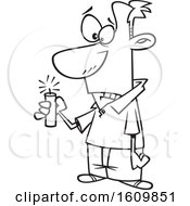 Clipart Of A Cartoon Black And White Man Hesitating While Holding Dynamite Royalty Free Vector Illustration