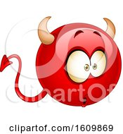 Clipart Of A Wondering Or Amazed Devil Emoji Royalty Free Vector Illustration