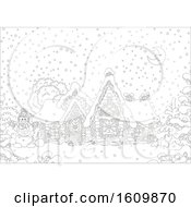 Clipart Of A Black And White Fairy Tale Log House With Snow On A Winter Night Royalty Free Vector Illustration