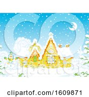 Clipart Of A Fairy Tale Log House With Snow On A Winter Night Royalty Free Vector Illustration