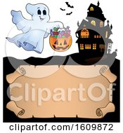 Clipart Of A Haunted House With A Ghost Holding A Candy Bucket Royalty Free Vector Illustration