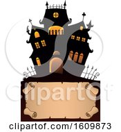 Clipart Of A Haunted House Over A Parchment Scroll Royalty Free Vector Illustration