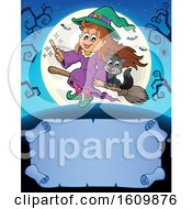 Clipart Of A Halloween Witch Girl With With A Cat On A Broomstick Over A Scroll Royalty Free Vector Illustration