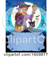 Clipart Of A Halloween Witch Girl And Cat Over A Blank Scroll Royalty Free Vector Illustration