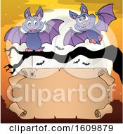 Clipart Of A Halloween Full Moon And Vampire Bats With A Scroll Royalty Free Vector Illustration
