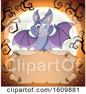 Clipart Of A Halloween Vampire Bat Flying With A Scroll Royalty Free Vector Illustration