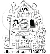 Clipart Of A Black And White Haunted House With Ghosts Royalty Free Vector Illustration