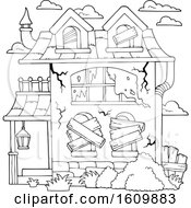 Clipart Of A Derelict Black And White House Royalty Free Vector Illustration