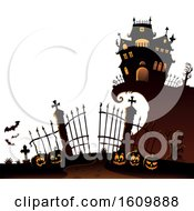 Clipart Of A Haunted House With Gates And Jackolanterns Royalty Free Vector Illustration