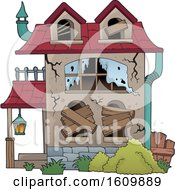 Clipart Of A Derelict House Royalty Free Vector Illustration