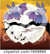 Halloween Full Moon And Vampire Bats