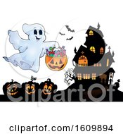 Clipart Of A Haunted House With A Trick Or Treating Ghost Royalty Free Vector Illustration