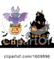 Clipart Of A Halloween Vampire Bat Flying With A Jackolantern Candy Bucket Royalty Free Vector Illustration