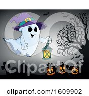 Clipart Of A Ghost Flying With A Lantern Royalty Free Vector Illustration
