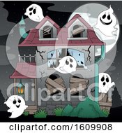 Clipart Of A Haunted House With Ghosts Royalty Free Vector Illustration