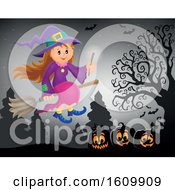 Clipart Of A Halloween Witch Girl Flying On A Broomstick Royalty Free Vector Illustration