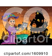 Clipart Of A Halloween Witch Girl Pushing Her Cat And Pumpkins In A Wheelbarrow Royalty Free Vector Illustration