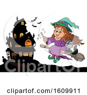 Clipart Of A Halloween Witch Girl With With A Cat On A Broomstick Near A Haunted House Royalty Free Vector Illustration
