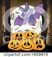Halloween Vampire Bat Over Jackolanterns