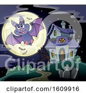 Clipart Of A Halloween Vampire Bat Flying By A Haunted House Royalty Free Vector Illustration