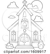 Clipart Of A Black And White Church Building Exterior Royalty Free Vector Illustration