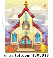 Clipart Of A Church Building Exterior With Autumn Leaves Royalty Free Vector Illustration