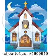Clipart Of A Church Building Exterior At Night Royalty Free Vector Illustration