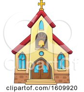 Clipart Of A Church Building Exterior Royalty Free Vector Illustration