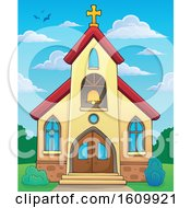 Clipart Of A Church Building Exterior Against A Cloudy Blue Sky Royalty Free Vector Illustration