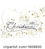 Clipart Of A Merry Christmas Greeting With Snowflakes Royalty Free Vector Illustration